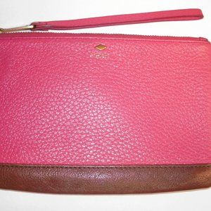 Fossil Pink Leather Wristlet Pouch